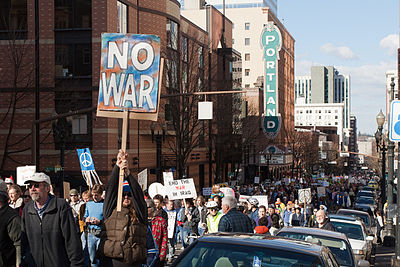 Protests against the Iraq War on March 19, 2006 No war pdx.jpg
