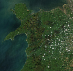 Satellite Map of North Wales