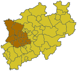 Map of North Rhine-Westphalia highlighting the Regierungsbezirk of Regierungsbezirk Düsseldorf