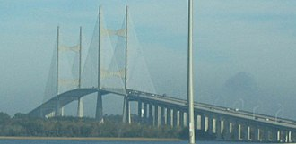 Dames Point Bridge - Image: Northbound approaching Dames Point Bridge
