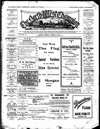 Moree Champion - Front page of the North West Champion newspaper, 3 March 1924