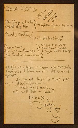 Greg Calbi - Note to Greg from John Lennon