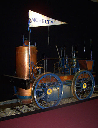 "Novelty (locomotive) - Replica of the Novelty in the Transport Museum in Nuremberg during the exhibition ""Adler, Rocket and Co."""