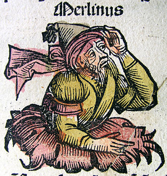 Carmarthen - Merlin, from the Nuremberg Chronicle (1493)