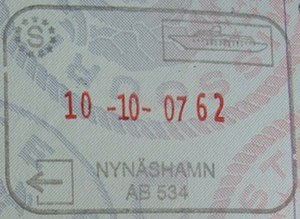 Nynäshamn - Passport stamp issued to ferry passengers to Gdańsk before Poland joined the Schengen Area