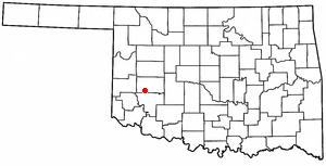 Sentinel, Oklahoma - Image: OK Map doton Sentinel