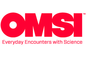 "The words ""OMSI"" in large font, with smaller ""Everyday Encounters with Science"" below it. The words are all in red."