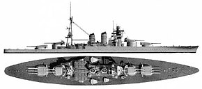 A diagram of the external side and top views of the battleship