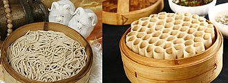 Chinese noodles - Youmian (莜面), cooked oat noodles and tubes