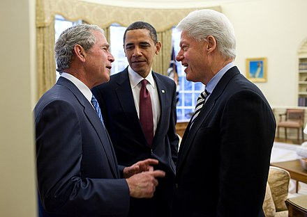 George W. Bush, then-President Obama, and Bill Clinton meeting in the Oval Office, January 16, 2010 Obama, Bush, and Clinton discuss the 2010 Haiti earthquake.jpg