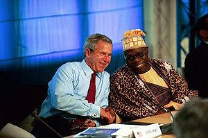 President George W. Bush talks with President ...
