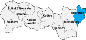 Ruská Bystrá - Location of Sobrance District in the Košice Region