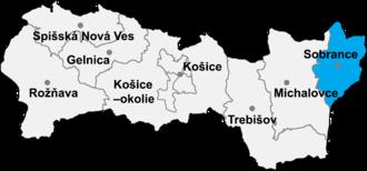 Ruská Bystrá - Location of Sobrance District in the Košice Region