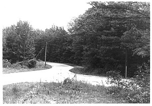 Old Natchez Trace segments listed on the National Register of Historic Places - Paved portion of site 310-2A, along the left