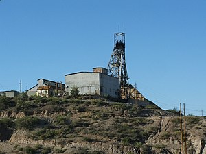 Globe, Arizona - The Old Dominion mine was the principal copper producer in the Globe District. In retirement, the old mine workings serve as the water supply for Globe-Miami and the district mines. Photo courtesy Jerry Willis.