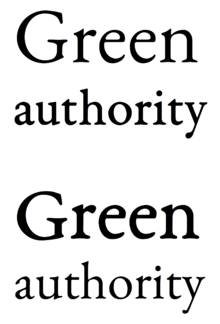 At Top Correct Use Green Is In A Slimmer Style Designed For Text Printed Large And Authority Thicker