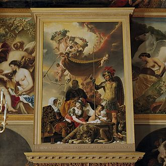 Oranjezaal - Allegory of the birth of Frederik Hendrik, in whose memory the room was commissioned, painting by Caesar van Everdingen