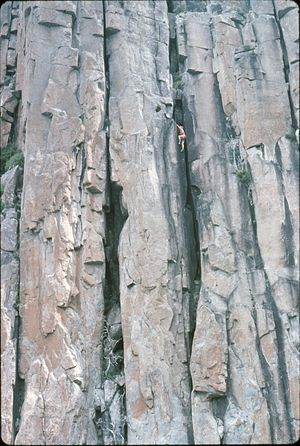 "Free solo climbing - Bryan Kennedy solos the ""Kennedy variant"" direct start to Battlements Organ Pipes Mount Wellington, Tasmania, 1977"