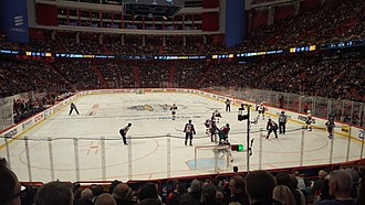 2017–18 NHL season - One of the games between the Ottawa Senators and the Colorado Avalanche at Ericsson Globe, Stockholm, Sweden.