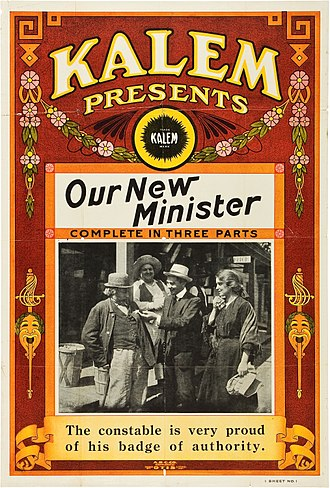 Kalem Company - Poster for the American drama film Our New Minister (1913) with Joseph Conyers, Tom Moore, and Alice Joyce.