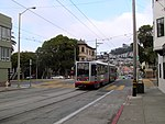 Outbound train at 30th Street and Dolores, August 2017.JPG