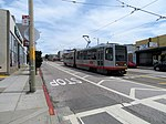 Outbound train at Taraval and 32nd Avenue, May 2018.JPG
