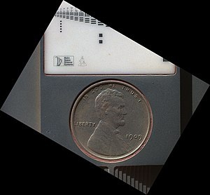 "1909 VDB ""US Lincoln Penny"" - on the planet Mars - part of a calibration target on the Curiosity Rover (September 10, 2012) (3-D version) (also, image on October 2, 2013 - after 411 days on Mars) PIA16131-US Lincoln Penny on Mars.jpg"