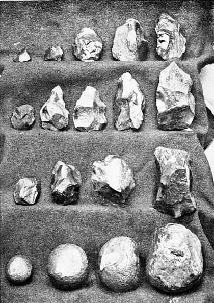 PSM V43 D685 Hammer stones and blocked out blades from jasper mines.jpg