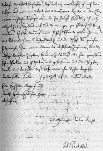 Johann Pachelbel - Pachelbel's autograph letter