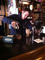 Pacific Standard owner preparing Santorum cocktail drink 01.JPG