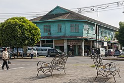 Papar town view with an old colonial shoplots.