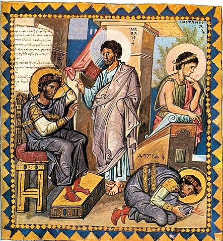 Пророк Нафан обличает Давида. Парижская псалтырь