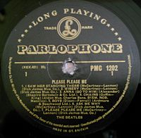 Please Please Me by the Beatles (side 1) - Parlophone gold and black label