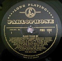Etichetta dell'album Please Please Me (versione pubblicata in Gran Bretagna)