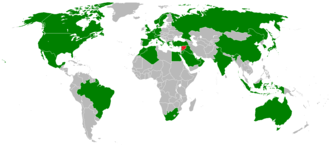 Geneva II Conference on Syria - Map of countries participating in the Geneva II peace conference shown in green and Syria in red.