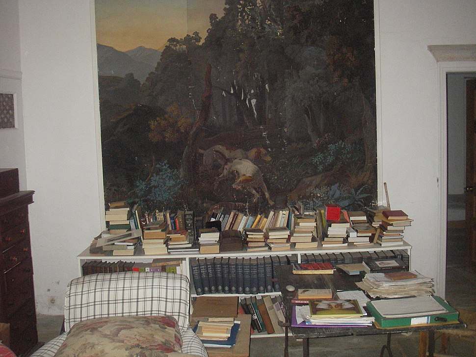 Patrick Michael Leigh Fermor office, c. 2009, view of French wallpaper