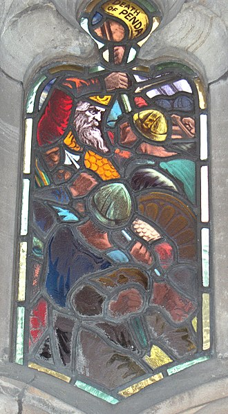 Stained glass window, depicting Penda's death at the Battle of the Winwaed, Worcester Cathedral. (Wikipedia)