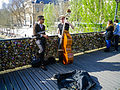 Performers on Pont des Arts, Paris 29 March 2014.jpg
