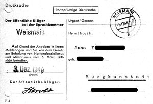 """Persilschein - On the certificate of good standing used in the American Zone of Occupation which indicated that the individual had not committed any war crimes and had a certified flawless political past which entitled him or her to employment and income - it read, """" Based on the information in your registration form, you are not affected by the law on the liberation from Nazism and militarism dated 5 March 1946."""""""