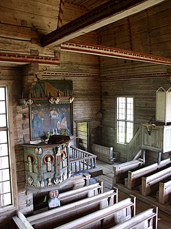 Petäjävesi Old Church interior pulpit choir.JPG