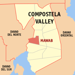 Map of Compostela Valley with Mawab highlighted