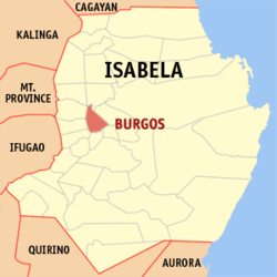 Map of Isabela showing the location of Burgos