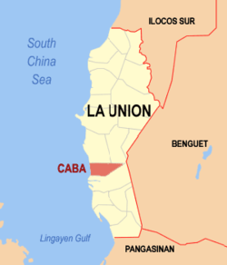 Map of La Union showing the location of Caba