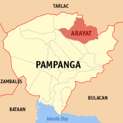 Map of Pampanga showing the location of Arayat.