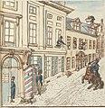 Pierre Goetsbloets, vol. 3, Anno 1795 - tot Antwerpen - deel des gesigts van het huys toehoorende aen dhr. Osey, waer die franschen hun magazeynen van kleergoederen maekten, met een gedeelte der St. Jocobs merkt &c.jpg