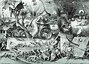 Pieter Bruegel the Elder - Engraving designed by Bruegel and published by Hieronymus Cock,  The Seven Deadly Sins or the Seven Vices - Anger, 1558