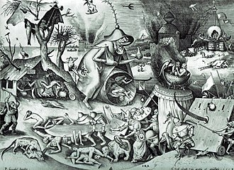 Pieter Bruegel the Elder - Engraving designed by Bruegel and published by Hieronymus Cock,  The Seven Deadly Sins or the Seven Vices – Anger, 1558