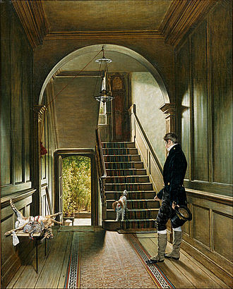 F. J. Robinson, 1st Viscount Goderich - Pieter Christoffel Wonder – The Staircase of the London Residence of the Painter – Centraal Museum Utrecht (the figure identified as Goderich on day of his resignation as Prime Minister).