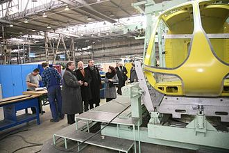 Lublin - Polish MPs in the PZL Świdnik helicopter factory