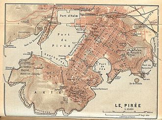 History of urban planning - Map of Piraeus, the port of Athens, showing the grid plan of the city